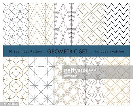 10 geometric pattern : stock vector