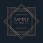Navy blue background with geometric rose gold squares. Vector illustration