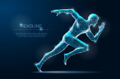 Geometric running man. Polygonal Wireframe 3D model blueprind with Dots. Vector Illustration
