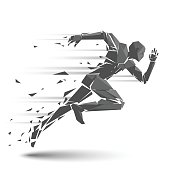 Geometric running man in vector on white background.