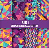 Geometric seamless pattern background collection. Available in 8 different forms, suitable for your design elements and background