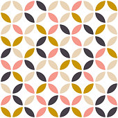Geometric seamless pattern in scandinavian style. Mid century design. Vector wallpaper.
