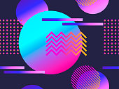 Geometric seamless pattern with gradient shapes. Zine culture abstract background. Retrowave. Vector illustration