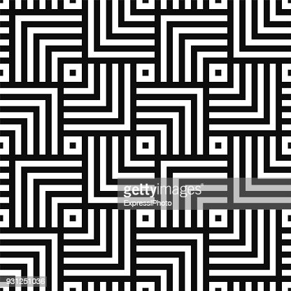 Geometric seamless vector creative pattern. Black and white squares background : stock vector