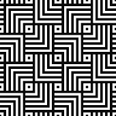 Geometric seamless vector creative pattern. Black and white squares background.