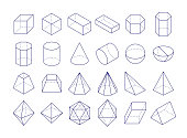 3D geometric shapes. Outline objects, vector illustration eps 10