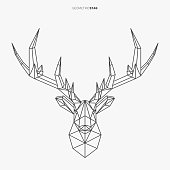 Vector geometric deer line- art. Low poly style animal drawing. Stag head and antlers. Modern Christmas symbol.