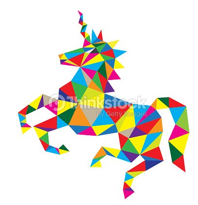 Geometric Unicorn Horse Riding Vector Art