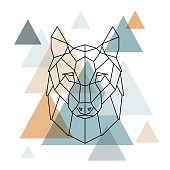 Geometric wolf illustration. Vector low poly line art. Geometric wolf head. Scandinavian style.