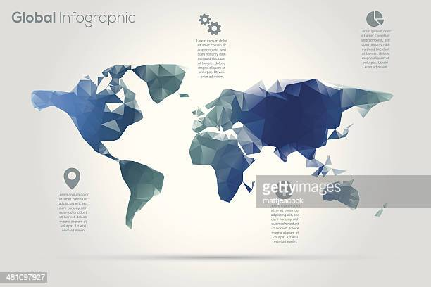 Geometric world map infographic