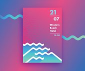 Fluid gradients abstract poster design with waves' shapes, summer and beach party banner, modern vector vertical A4 banner.