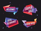 Geometrical colorful banner, speech bubble for marketing and social. Vector illustration set