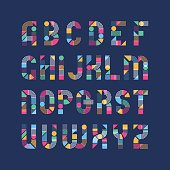 Geometrical shapes', lines and color blocks' latin font, pop art graphical decorative type.