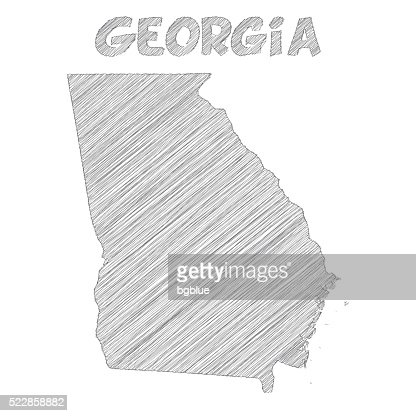 Georgia Map Hand Drawn On White Background Vector Art Getty Images - Georgia map drawing