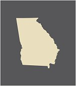 Georgia map outline vector in gray background