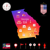 Georgia Vector Map, Night View. Compass Icon, Map Navigation Elements. Pennant Flag of the United States. Vector Flag of Georgia. Various Industries, Economic Geography Icons.
