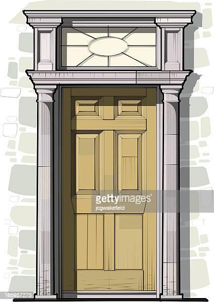 Georgische Tür Detail mit Säulen und Round-Light