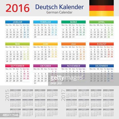 German Calendar 2016 Deutsch Kalender 2016 Vector Art | Getty Images
