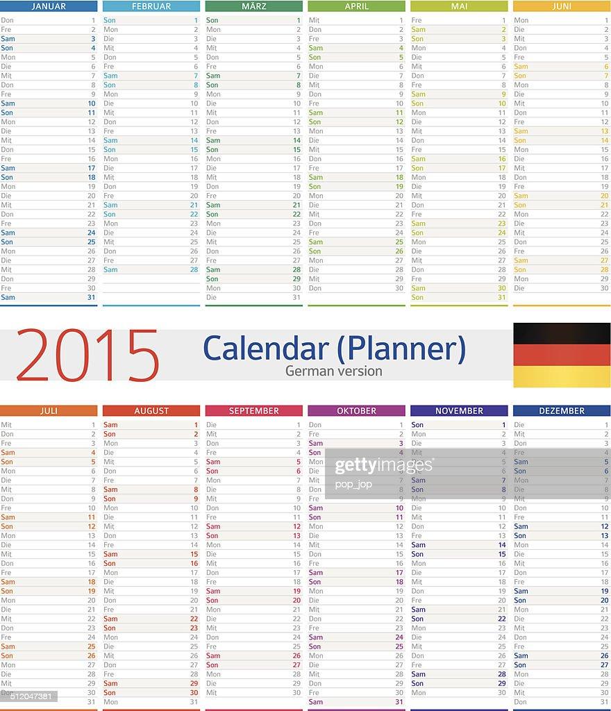 Calendario tedescoil pianificatore 2015illustrazione arte for Capannone pianificatore di layout