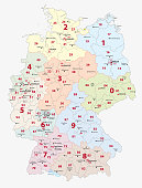 Germany 2-digit postcodes, zip vector map