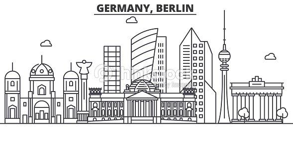 Deutschland Berlin Architektur Linie Skyline Abbildung Linearer