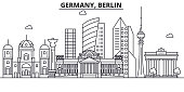 Germany, Berlin architecture line skyline illustration. Linear vector cityscape with famous landmarks, city sights, design icons. Editable strokes