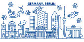 Germany, Berlin winter city skyline. Merry Christmas, Happy New Year decorated banner with Santa Claus.Winter greeting line card.Flat, outline vector. Linear christmas snow illustration