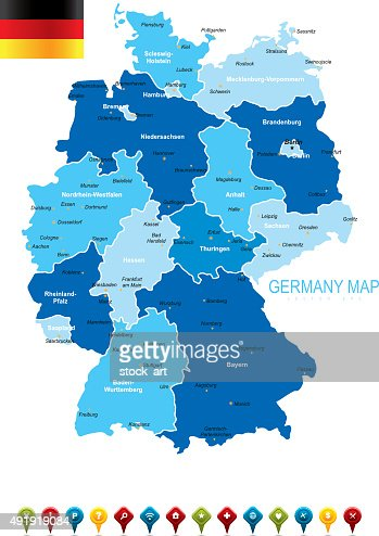 Germany Blue Map Vector Art Getty Images - Germany map vector