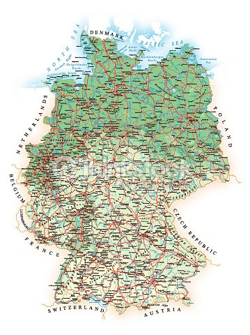 Germany Detailed Topographic Map Illustration Vector Art | Thinkstock