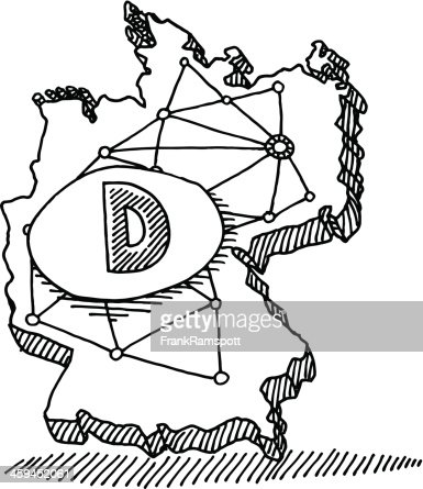 Germany Doodle Map Connections Drawing Vector Art Getty Images - Germany map drawing