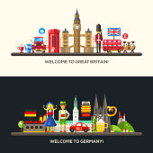 Set of vector flat design Great Britain and Germany travel banners, headers with icons and infographics elements with landmarks and famous French and American symbols