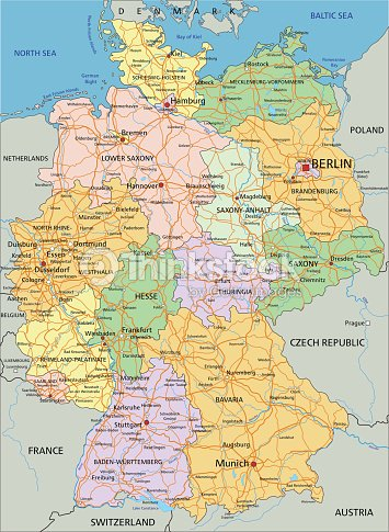 germany highly detailed editable political map
