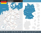Map of Germany and flag - highly detailed vector illustration