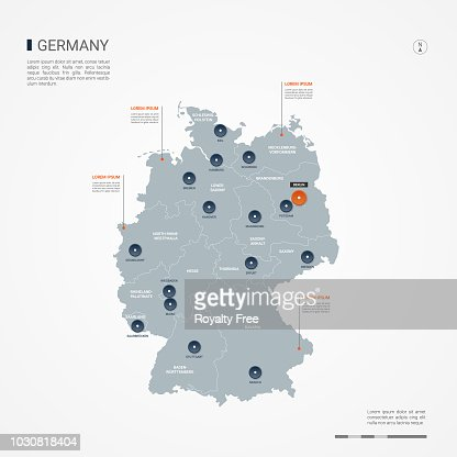 Germany infographic map vector illustration. : stock vector