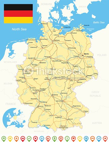 Germany Map Flag Navigation Icons Roads Rivers Illustration Vector - Germany map of rivers