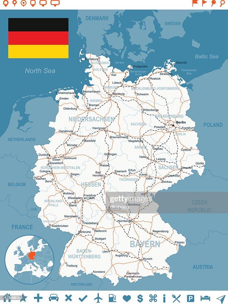 Germany Map Flag Navigation Labels Roads Illustration Vector Art
