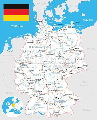 Germany Map Flag Roads Illustration Vector Art Thinkstock - Germany road map 2015