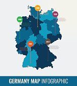 Germany map infographic template. All regions are selectable. Vector illustration