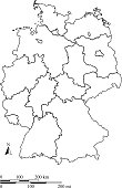 Germany map vector outline with miles and kilometers scales in a blank design