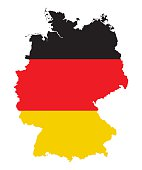 high detailed germany map silhouette with national german flag colors