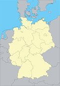 Vector map of Germany and regions. This map was traced using as reference NASA public domain Hi-res pictures from http://visibleearth.nasa.gov/view.php?id=74092  and treated in Illustrator and special