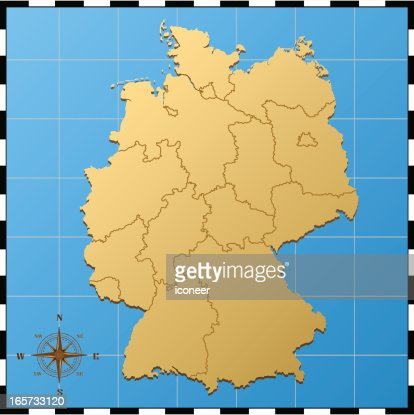 germany map with pass rose vector art ty images