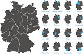 germany map with federal states vector set