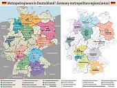 Germany metropolitan regions vector map
