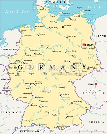 Germany Political Map Vector Art Thinkstock - Germany map dortmund
