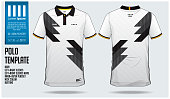 Germany Team Polo t-shirt sport template design for soccer jersey, football kit or sportwear. Classic collar sport uniform in front view and back view. T-shirt mock up for sport club. Vector Illustrat
