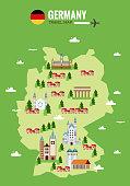 Explore Germany concept image. flat design elements. vector illustration