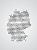 Germany vector map illustration using binary codes on white background to mean advancement of technology