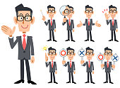 Gestures and expressions of glasses-worn businessmen wearing red tie and gray suit _ The whole body 9 types