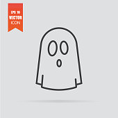 Ghost icon in flat style isolated on grey background. For your design, logo. Vector illustration.